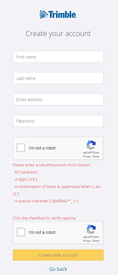 Trimble account registration form