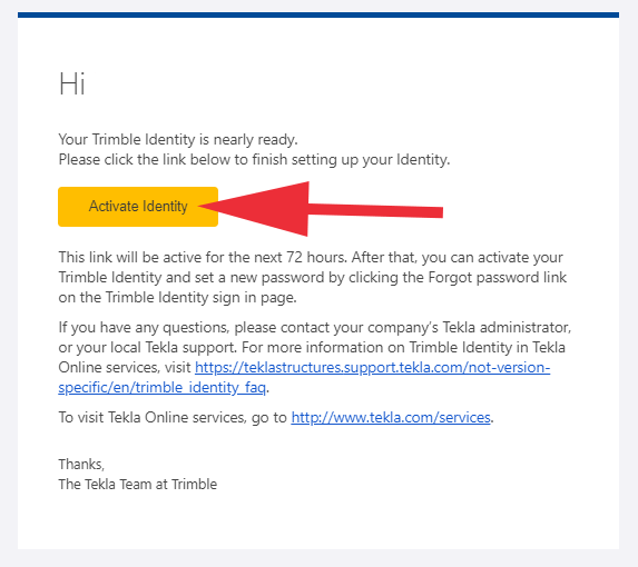 Activate Identity email