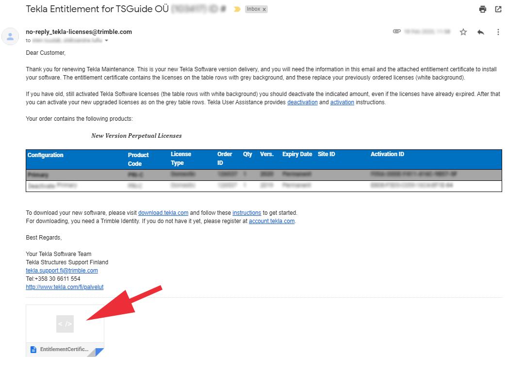 Tekla license email